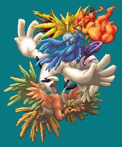 Pokémon-Pixelart: Legendäre Vögel