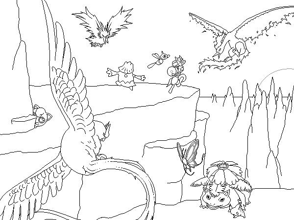 Pokémon-Zeichnung: Legendäre Vögel die Zweite - Outlines