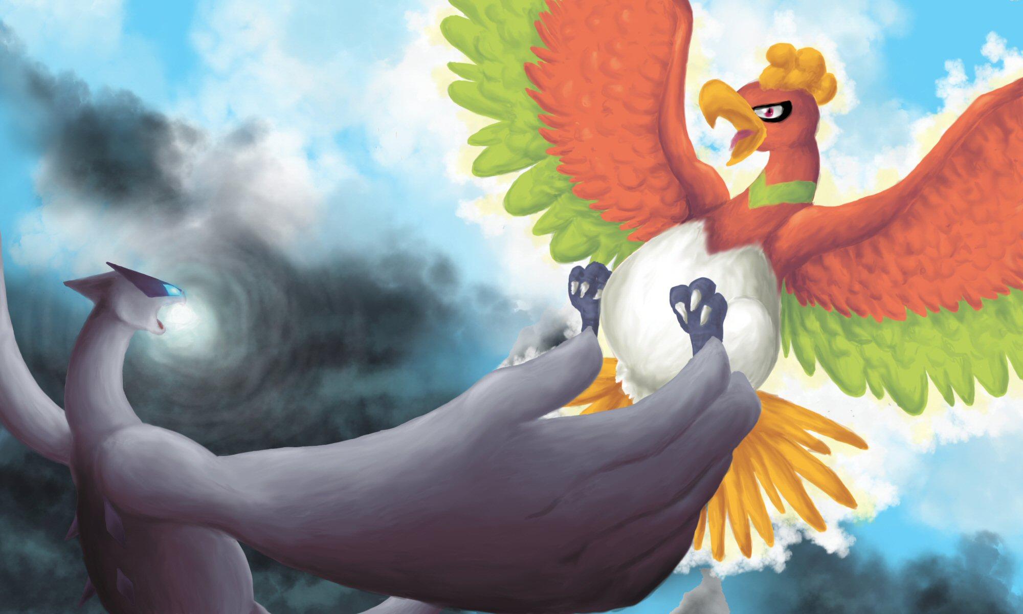 Pokémon-Zeichnung: hooh vs Lugia