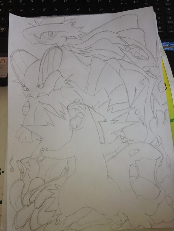Pokémon-Zeichnung: Piloufis Team auf SoulSilver