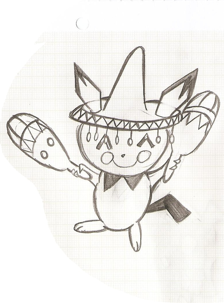Pokémon-Zeichnung: Pichu tanzt Samba