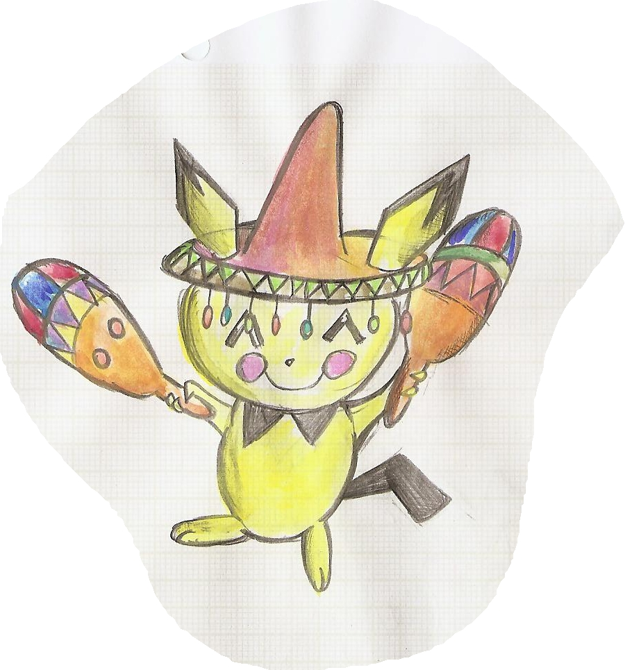 Pokémon-Zeichnung: Pichu Samba Farbig