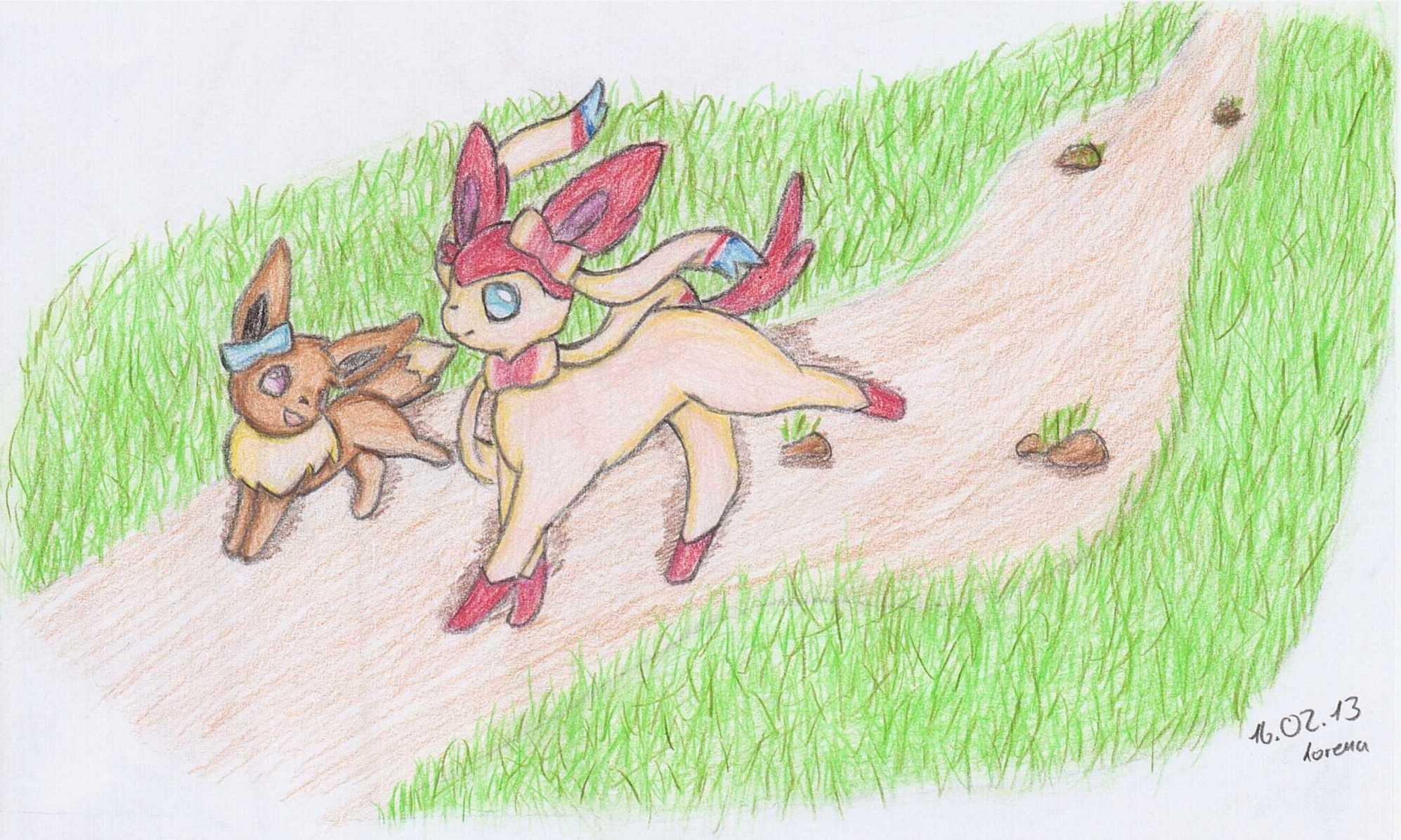Pokémon-Zeichnung: Ninfia und Evoli