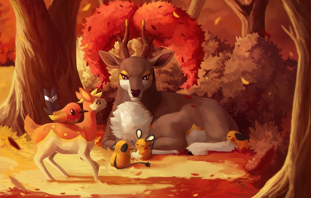 Pokémon-Zeichnung: warmer herbstabend
