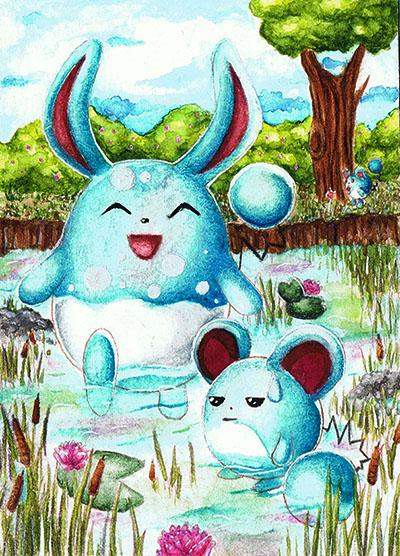 Pokémon-Zeichnung: Badespaß