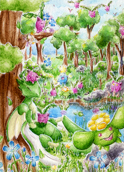 Pokémon-Zeichnung: Familienausflug