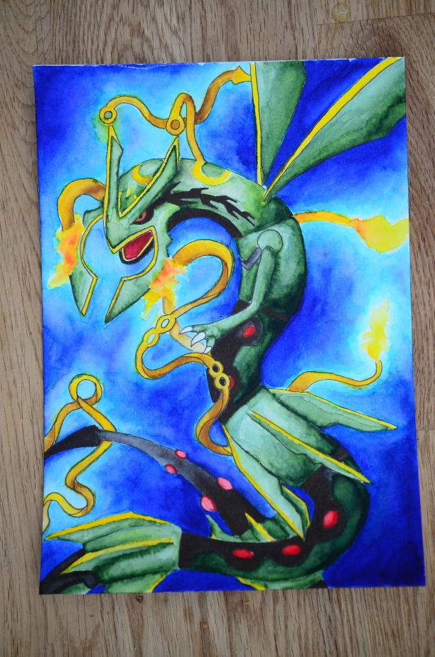 Pokémon-Zeichnung: Seltsame neumodische Form von Rayquaza
