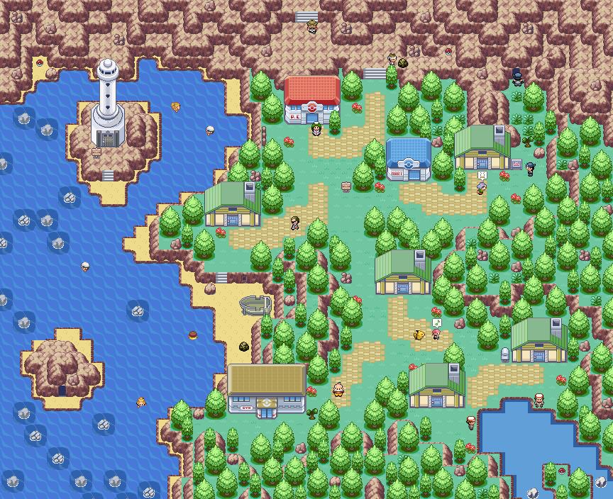Pokémon-Map: Eine Stadt am Meer