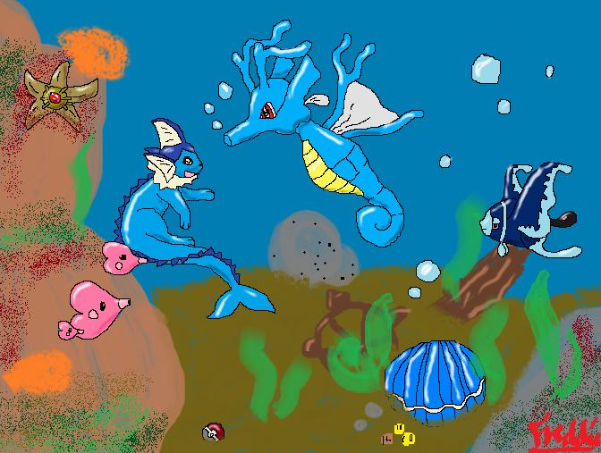 Pokémon-Fanart: Begegnung unter Wasser