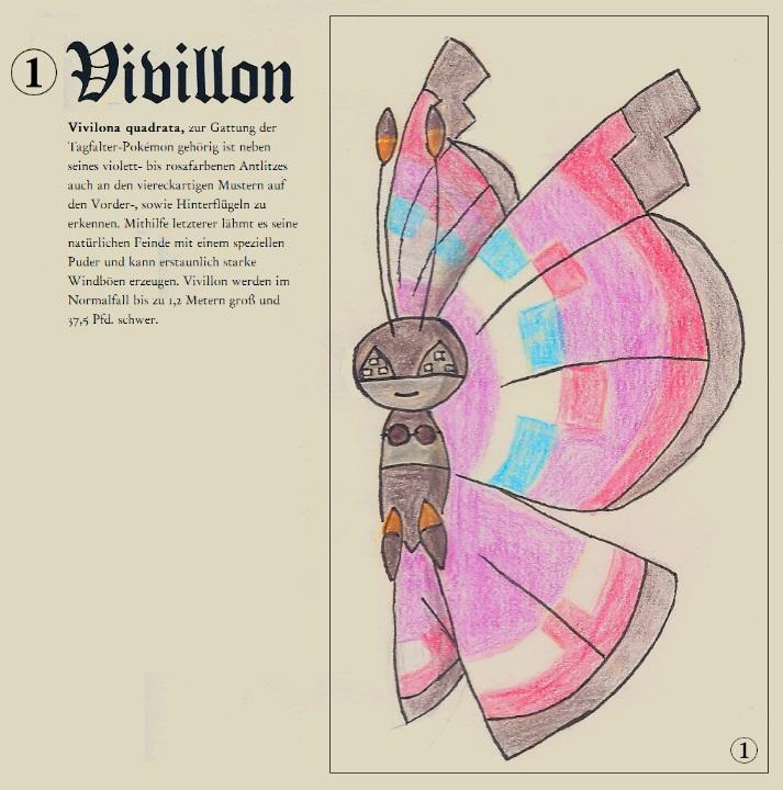 Pokémon-Zeichnung: Vivilona quatrata (aus: Käfer-Pokémon und wie man sie bestimmt, Erschienen 18XX im TiminaVerlag)