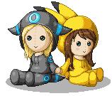 Pokémon-Pixelart: Puppen