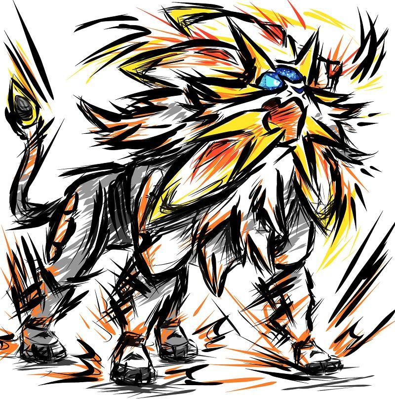 Pokémon-Zeichnung: Solgaleo - fancy Style