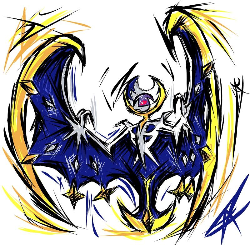 Pokémon-Zeichnung: Lunala - fancy Style