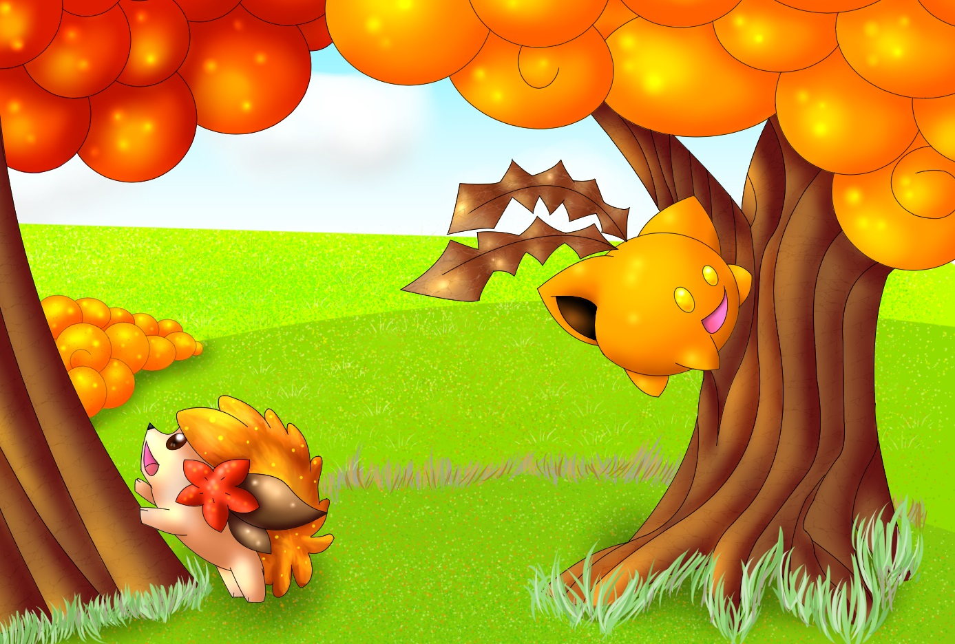 Pokémon-Zeichnung: Happy Autumn Pokis