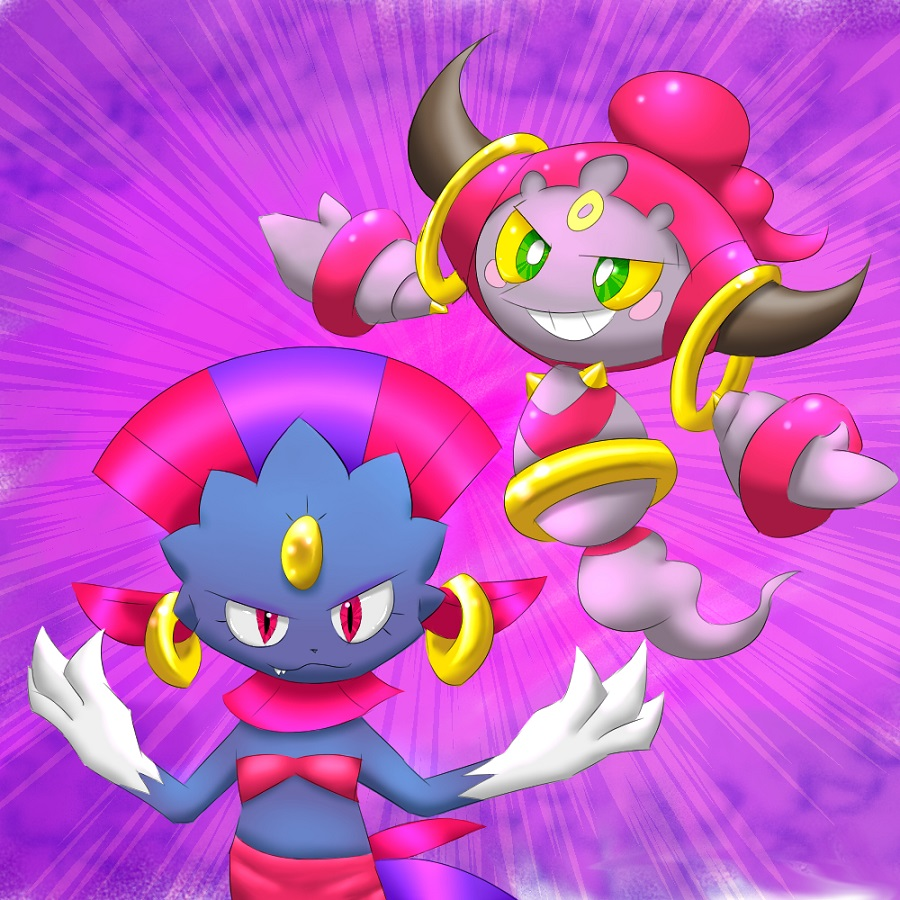 Pokémon-Zeichnung: Weaviolet and Hoopa