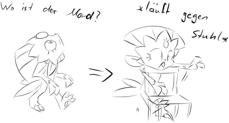 Pokémon-Zeichnung: Snibunna vs Stuhl