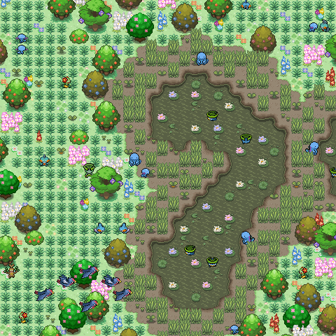 Pokémon-Map: Frühling im Sumpf