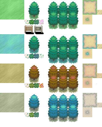 Pokémon-Tileset: Pokémon 4 Seasons Tileset V1