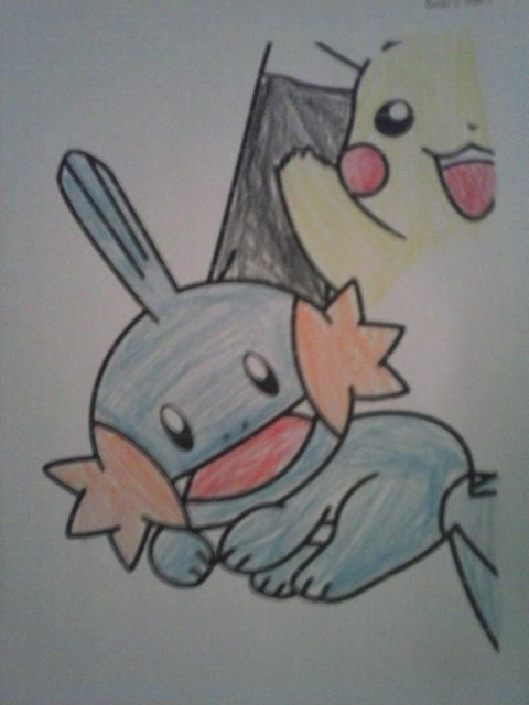 Pokémon-Zeichnung: Hydropi und Pikachu
