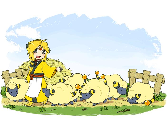Pokémon-Zeichnung: Teru & Voltilamm