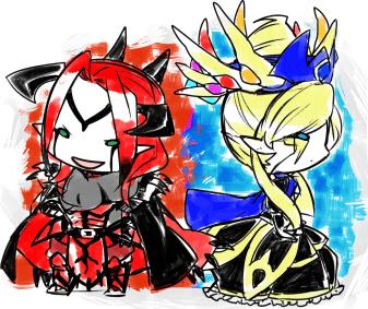 Pokémon-Zeichnung: Chibi Xerneas & Yveltal
