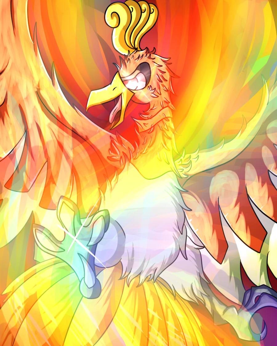 Pokémon-Zeichnung: Ho-Oh used Rainbow fireblast