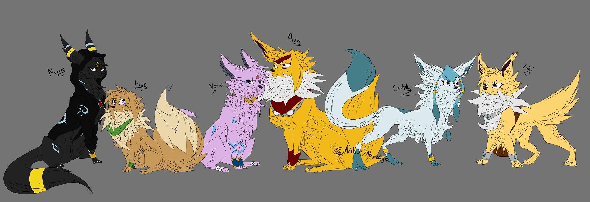 Pokémon-Zeichnung: Eeveelution Familie