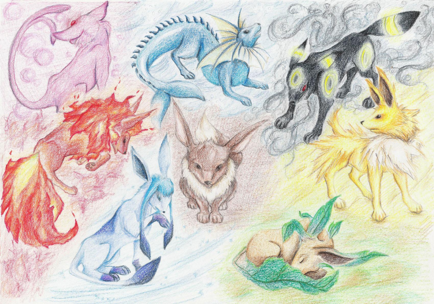 Pokémon-Zeichnung: Eeveelutions