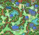 Kleines Dorf in hügeliger Gegend