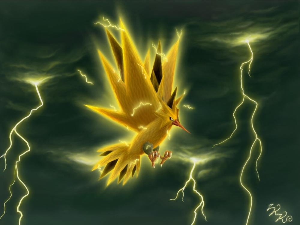 Pokémon-Zeichnung: Zapdos, König des Gewittersturms