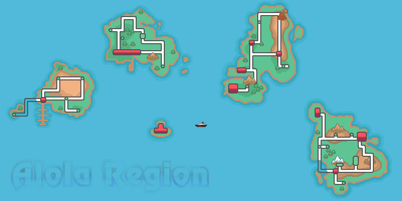 Pokémon-Map: Alola Worldmap (HGSS Stil)