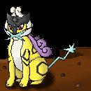 Pokémon-Pixelart: Raikou an Klippe