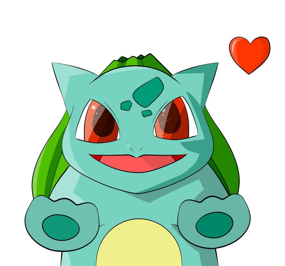 Pokémon-Zeichnung: Bisasam liebt dich