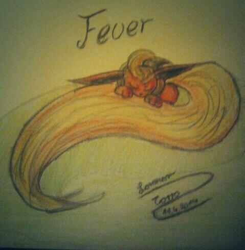 Pokémon-Zeichnung: Feuer mein kleines Flamara
