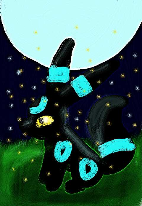 Pokémon-Zeichnung: Nachtara shiny bei vollmond