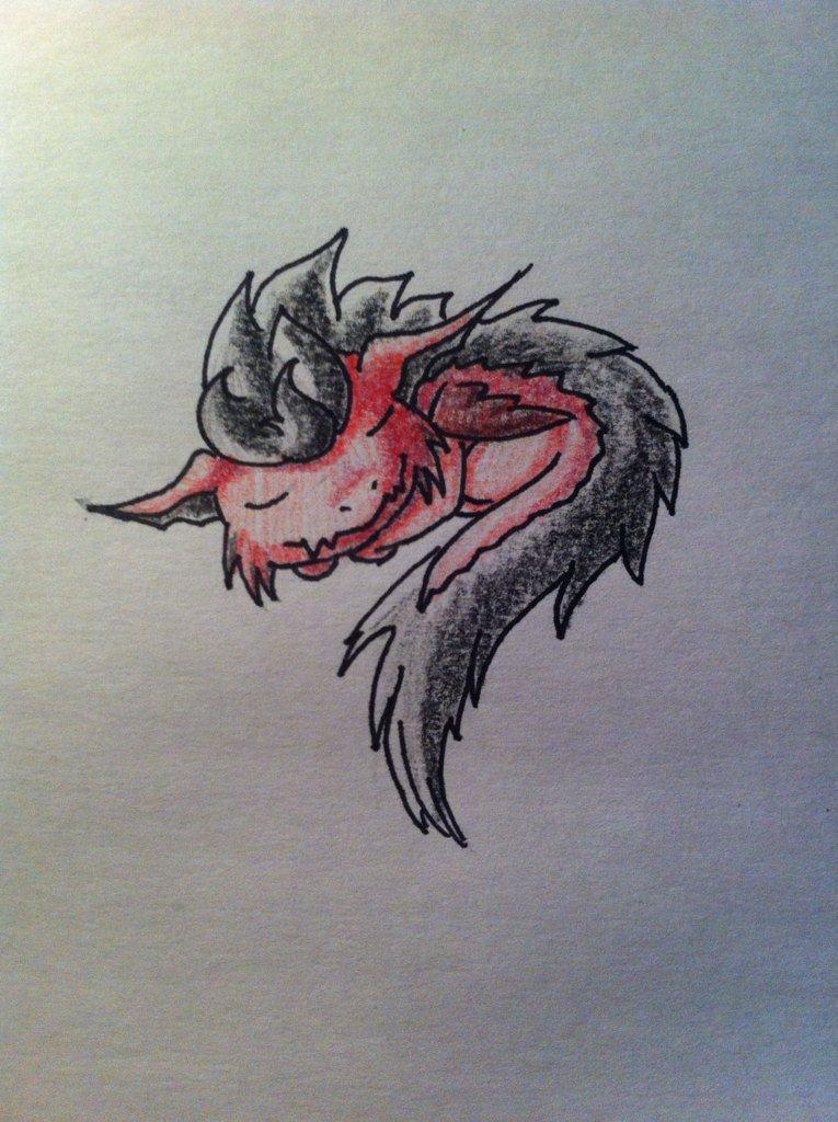 Pokémon-Zeichnung: Kleiner Feuer Drache