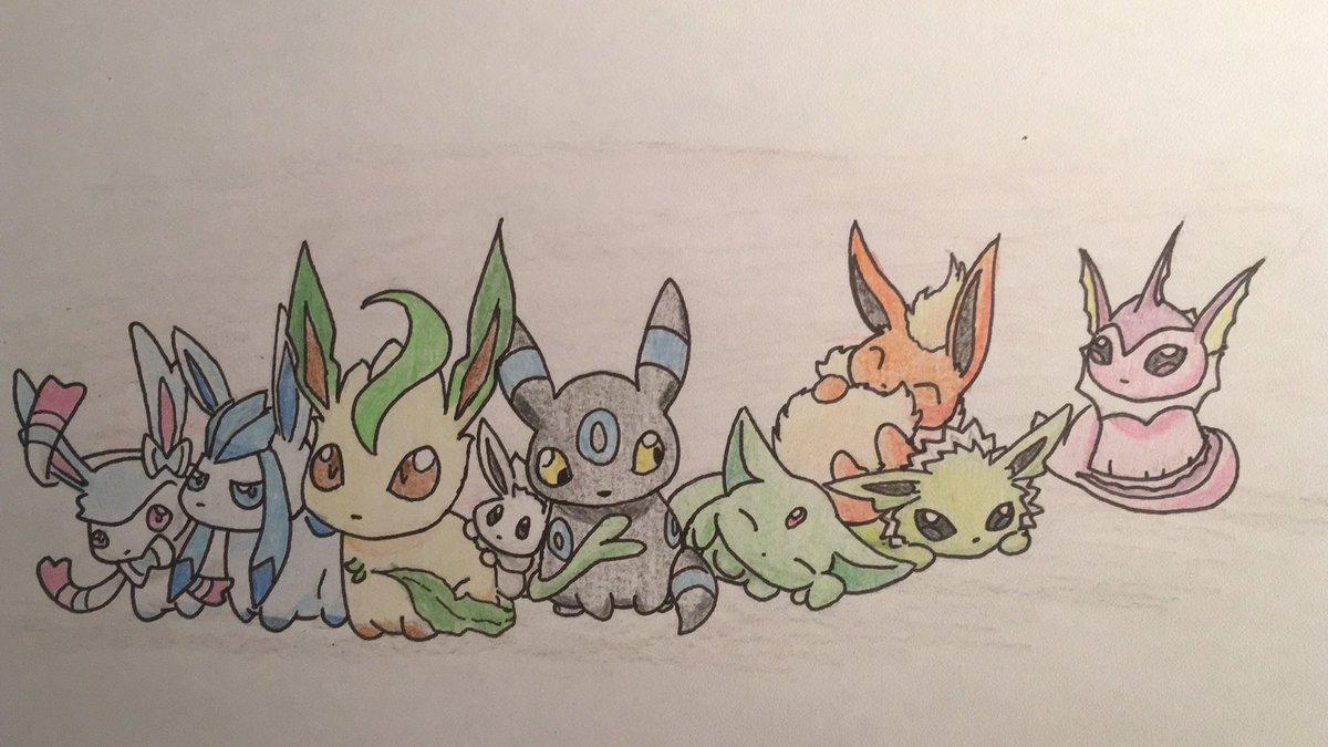 Pokémon-Zeichnung: Eevees in Shiny