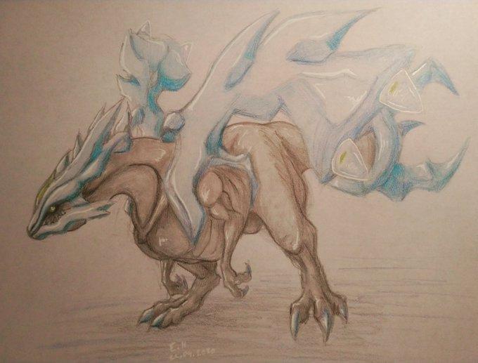 Pokémon-Zeichnung: Kyurem der grausame Drache des eises