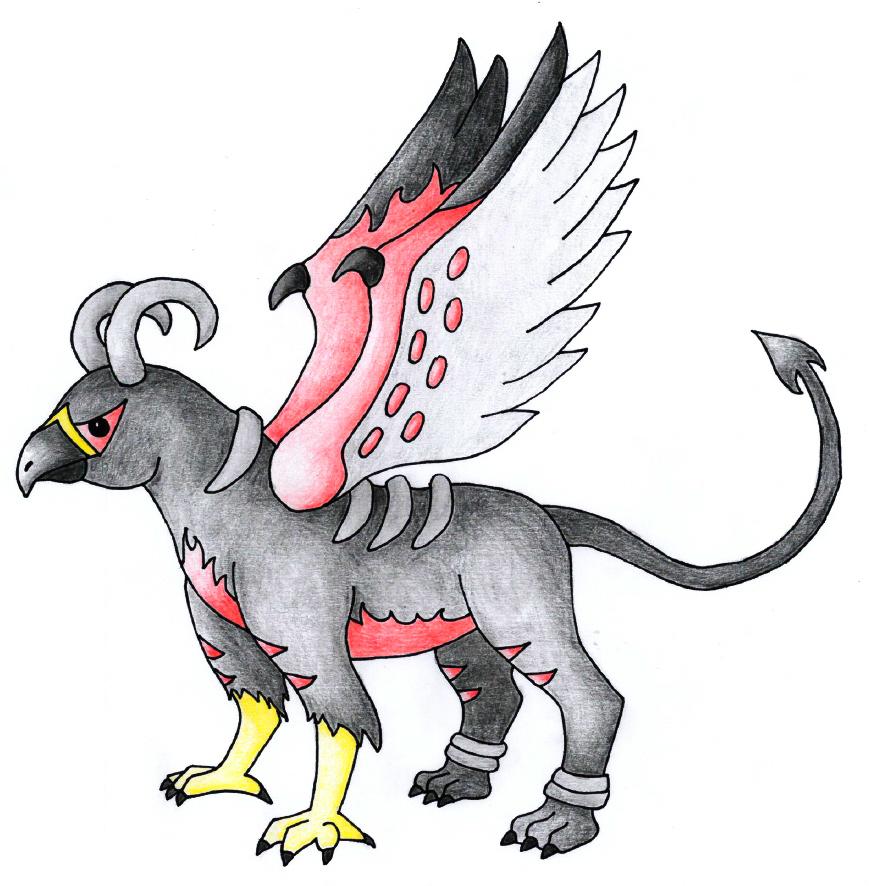 Pokémon-Zeichnung: Greifenfusion: Fiaro & Hundemon