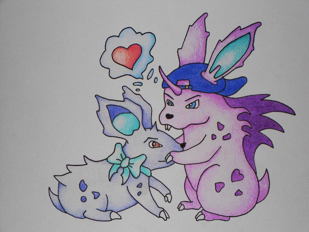 Pokémon-Zeichnung: Nidoran love <3