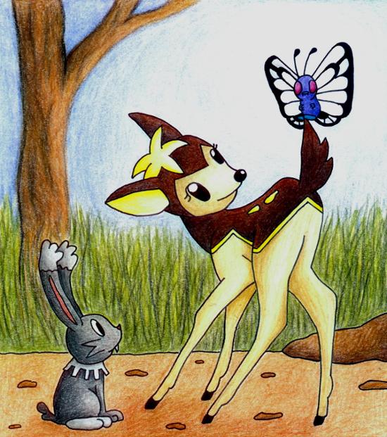 Pokémon-Zeichnung: Sesokitz als Bambi...