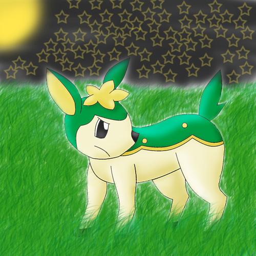 Pokémon-Zeichnung: Shikijika im Mondschein