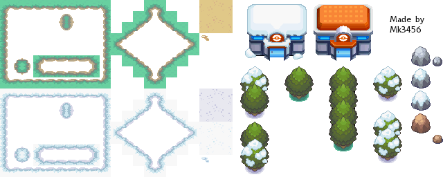 Pokémon-Tileset: Pre-Alpha Summer Winter Tileset