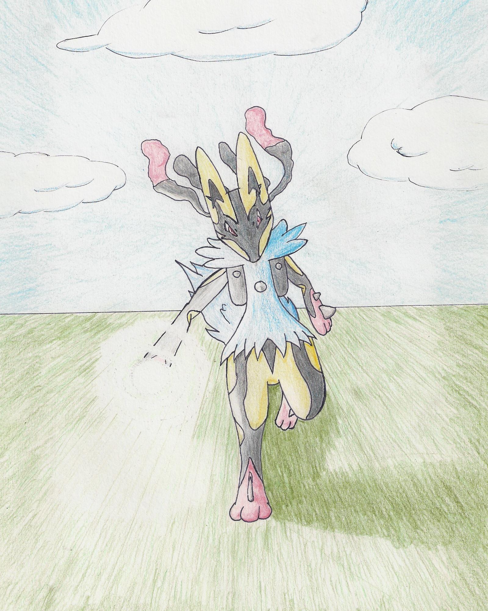 Pokémon-Zeichnung: Mega-Lucario  ben.  Lichtkanone