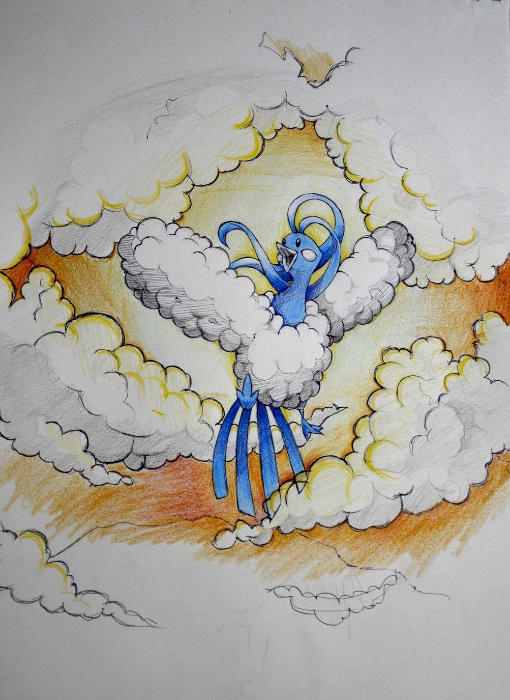 Pokémon-Zeichnung: Himmel aus Gold