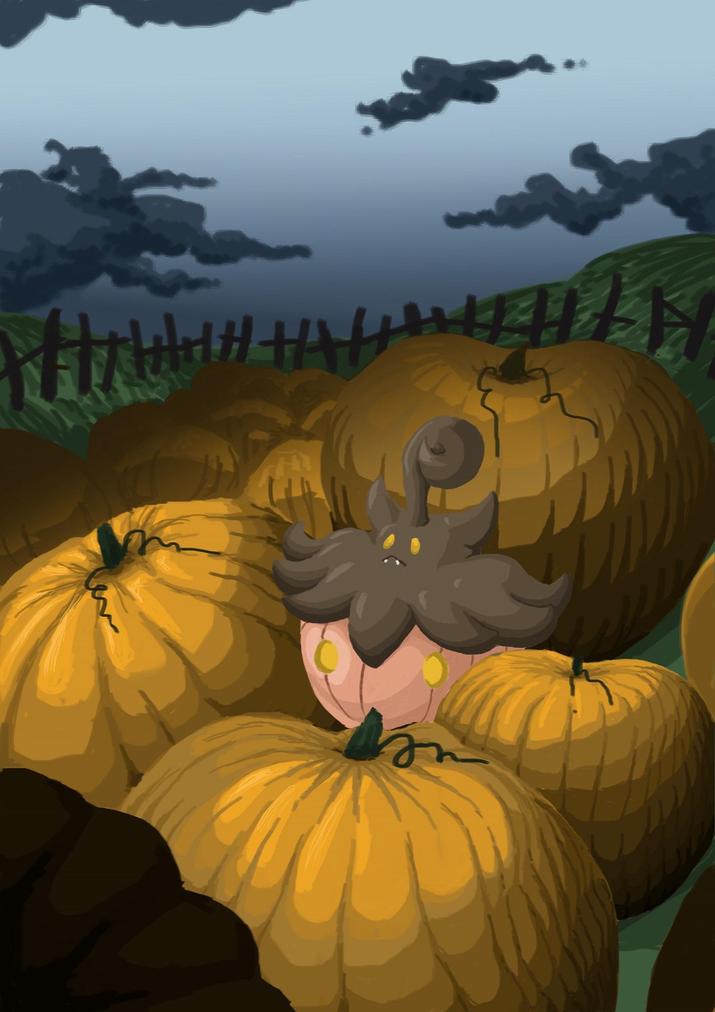 Pokémon-Zeichnung: Kürbisfeld mit Irrbis