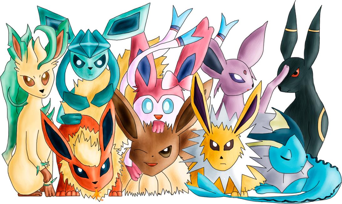Pokémon-Zeichnung: Evoli Family