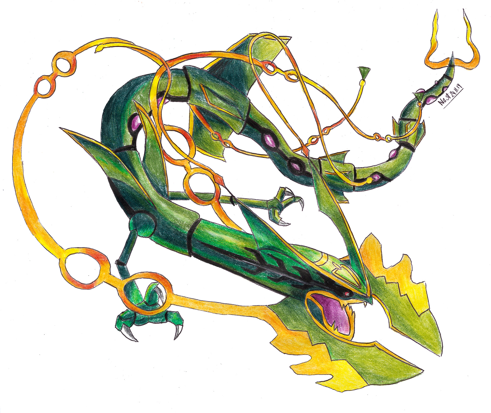how to draw pokemon rayquaza