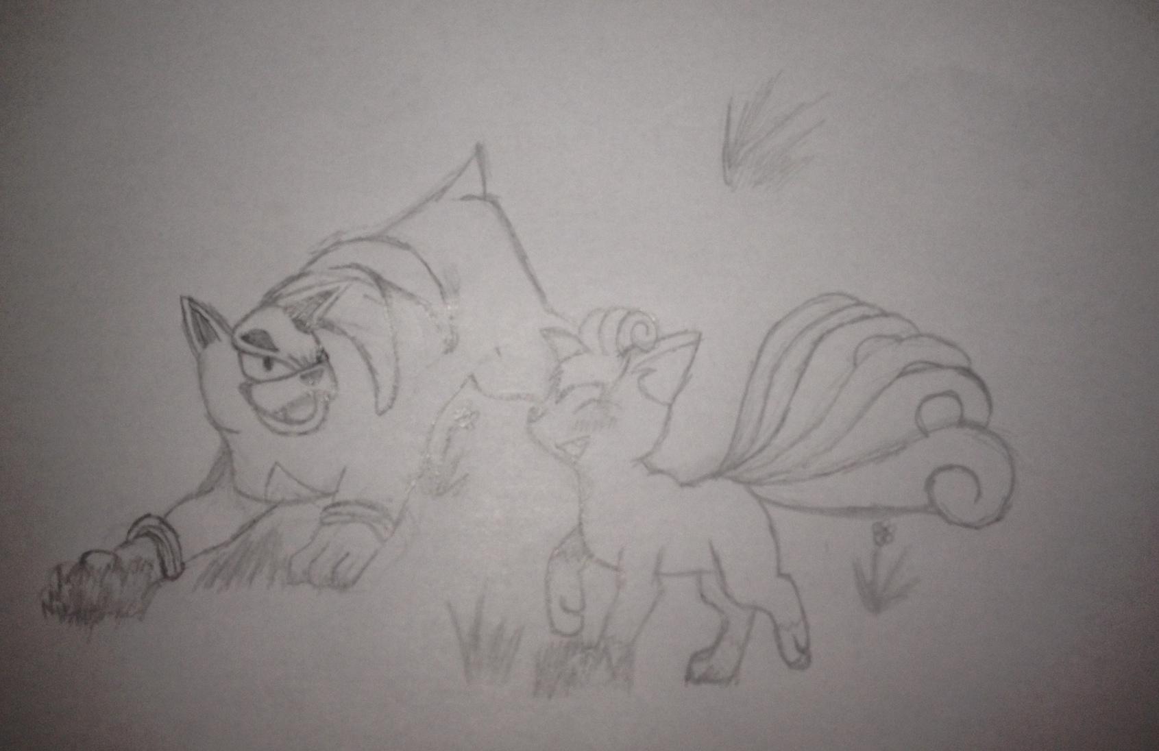Pokémon-Zeichnung: Skizze Hunduster und Vulpix