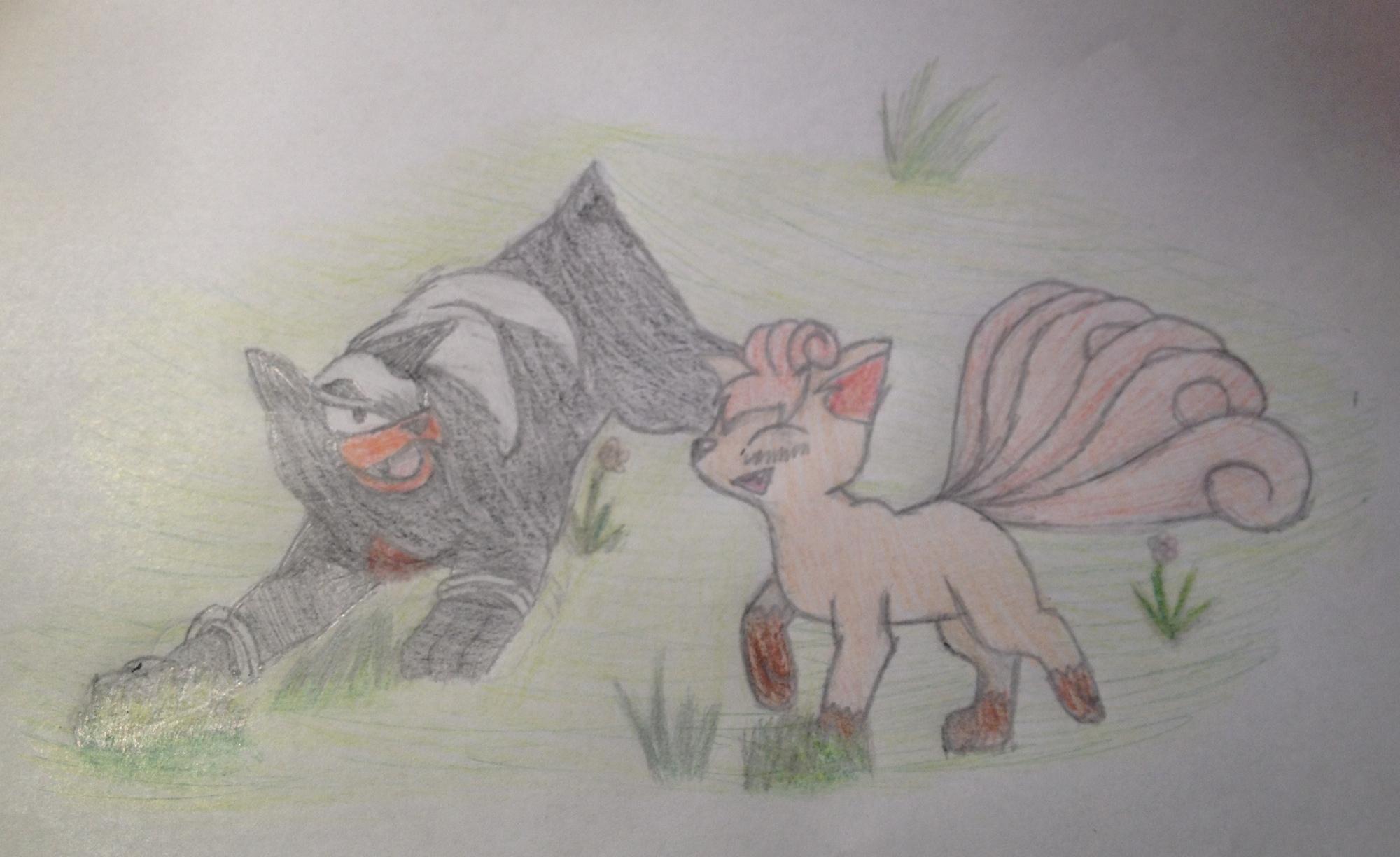 Pokémon-Zeichnung: Vulpix und Hinduster für Arkani22